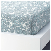 ЙЭТТЕВАЛЛМО Простыня натяжная, белый, синий, 90x200 см
