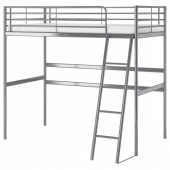 СВЭРТА Каркас кровати-чердака, серебристый, 90x200 см
