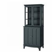 ЛОММАРП Шкаф со стеклянными дверцами, темный сине-зеленый, 86x199 см