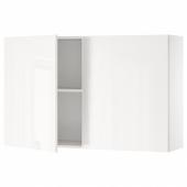 КНОКСХУЛЬТ Навесной шкаф с дверями, глянцевый белый, 120x75 см
