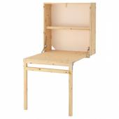 ИВАР Модуль д/хранения/складной стол, сосна, 80x30-104x155 см