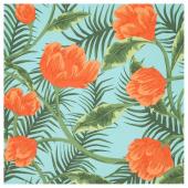 СОММАР 2020 Ткань, бирюзовый оранжевый, цветы и листья, 150 см
