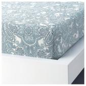 ЙЭТТЕВАЛЛМО Простыня натяжная, белый, синий, 180x200 см