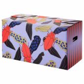 ОМБЮТЕ Упаковочная коробка, синий/оранжевый, 66x33x35 см
