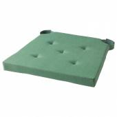 ЮСТИНА Подушка на стул, зеленый, 35/42x40x4.0 см