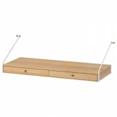 СВАЛЬНЭС Полка/столешница с 2 ящиками, бамбук, 81x35 см