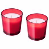 ВИНТЕР 2020 Ароматическая свеча в стакане, Пять зимних пряностей красный, 7.5 см
