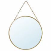 ЛАССБЮН Зеркало, золотой, 25 см