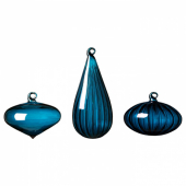 ВИНТЕР 2020 Декоративный шарик, 3 шт., различные формы, стекло синий