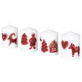 ВИНТЕР 2020 Неароматич свеча формовая, орнамент «имбирное печенье» белый/красный, 8 см
