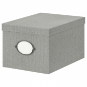КВАРНВИК Коробка с крышкой, серый, 25x35x20 см
