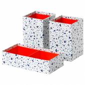 МЁЙЛИГХЕТ Набор коробок, 3 шт., красный, мозаичный орнамент