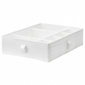 СКУББ Ящик с отделениями, белый, 44x34x11 см