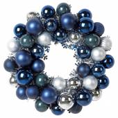 ВИНТЕР 2020 Украшение, венок, синий, серебристый, 38 см