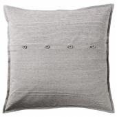 КРИСТИАННЕ Чехол на подушку, белый, темно-серый в полоску, 50x50 см