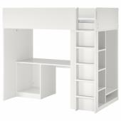 СМОСТАД Каркас кровати-черд+стол/мод д/хр, белый, 90x200 см