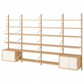 СВАЛЬНЭС Комбинация д/хранения, бамбук, белый, 297x35x176 см