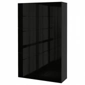 БЕСТО Комбинация для хранения с дверцами, черно-коричневый, Сельсвикен глянцевый/черный, 120x40x192 см