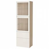 БЕСТО Комбинация д/хранения+стекл дверц, под беленый дуб, Сельсвикен глянцевый/белый прозрачное стекло, 60x42x193 см