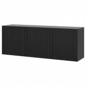 БЕСТО Комбинация настенных шкафов, черно-коричневый, Ханвикен черно-коричневый, 180x42x64 см