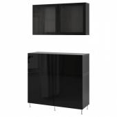БЕСТО Комб для хран с дверц/ящ, черно-коричневый, СЕЛЬСВ/СТАЛЛАРП глянцевый/черный прозрачное стекло, 120x42x240 см