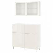 БЕСТО Комб для хран с дверц/ящ, белый, СЕЛЬСВ/СТАЛЛАРП глянцевый/белый прозрачное стекло, 120x42x240 см