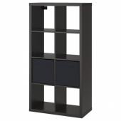 КАЛЛАКС Стеллаж с 2 вставками, черно-коричневый, черный, 77x147 см