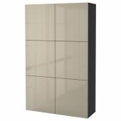БЕСТО Комбинация для хранения с дверцами, черно-коричневый, Сельсвикен глянцевый/бежевый, 120x40x192 см