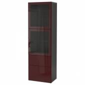 БЕСТО Комбинация д/хранения+стекл дверц, черно-коричневый Сельсвикен, темный красно-коричневый прозрачное стекло, 60x42x193 см