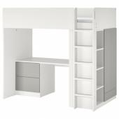 СМОСТАД Кровать-чердак, белый серый, с письменным столом с 3 ящиками, 90x200 см