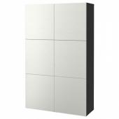 БЕСТО Комбинация для хранения с дверцами, черно-коричневый, Лаксвикен белый, 120x40x192 см
