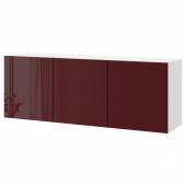 БЕСТО Комбинация настенных шкафов, белый Сельсвикен, глянцевый темный красно-коричневый, 180x42x64 см