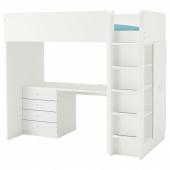 СТУВА / ФРИТИДС Кровать-чердак/4 ящика/2 дверцы, белый, белый, 207x99x182 см