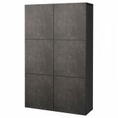 БЕСТО Комбинация для хранения с дверцами, черно-коричневый Кэлльвикен, темно-серый под бетон, 120x40x192 см
