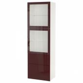 БЕСТО Комбинация д/хранения+стекл дверц, белый Сельсвикен, темный красно-коричневый прозрачное стекло, 60x42x193 см