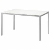 ТОРСБИ Стол, хромированный, глянцевый белый, 135x85 см