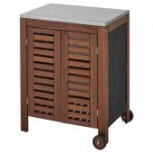 ЭПЛАРО / КЛАСЕН Модуль для хранения, садовый, коричневая морилка, цвет нержавеющей стали, 77x88 см