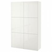 БЕСТО Комбинация для хранения с дверцами, белый, Сельсвикен глянцевый/белый, 120x40x192 см