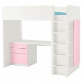 СТУВА / ФРИТИДС Кровать-чердак/3 ящика/2 дверцы, белый, светло-розовый, 207x99x182 см
