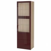 БЕСТО Комбинация д/хранения+стекл дверц, под беленый дуб Сельсвикен, темный красно-коричневый прозрачное стекло, 60x42x193 см