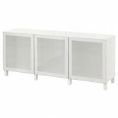 БЕСТО Комбинация для хранения с дверцами, белый, Глассвик белый матовое стекло, 180x40x74 см