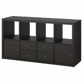 КАЛЛАКС Стеллаж с 4 вставками, черно-коричневый, 77x147 см
