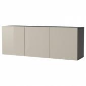 БЕСТО Комбинация настенных шкафов, черно-коричневый, Сельсвикен глянцевый/бежевый, 180x42x64 см