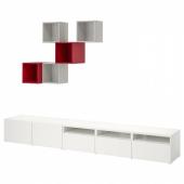 БЕСТО / ЭКЕТ Комбинация для ТВ, белый/светло-серый, красный, 300x42x210 см
