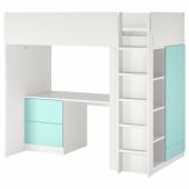 СМОСТАД Кровать-чердак, белый бледно-бирюзовый, с письменным столом с 3 ящиками, 90x200 см