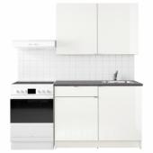 КНОКСХУЛЬТ Кухня, глянцевый, белый, 120x61x220 см