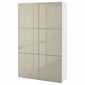 БЕСТО Комбинация для хранения с дверцами, белый, Сельсвикен глянцевый/бежевый, 120x40x192 см