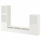 БЕСТО Шкаф для ТВ, комбин/стеклян дверцы, белый, Сельсвикен глянцевый/белый матовое стекло, 300x42x193 см